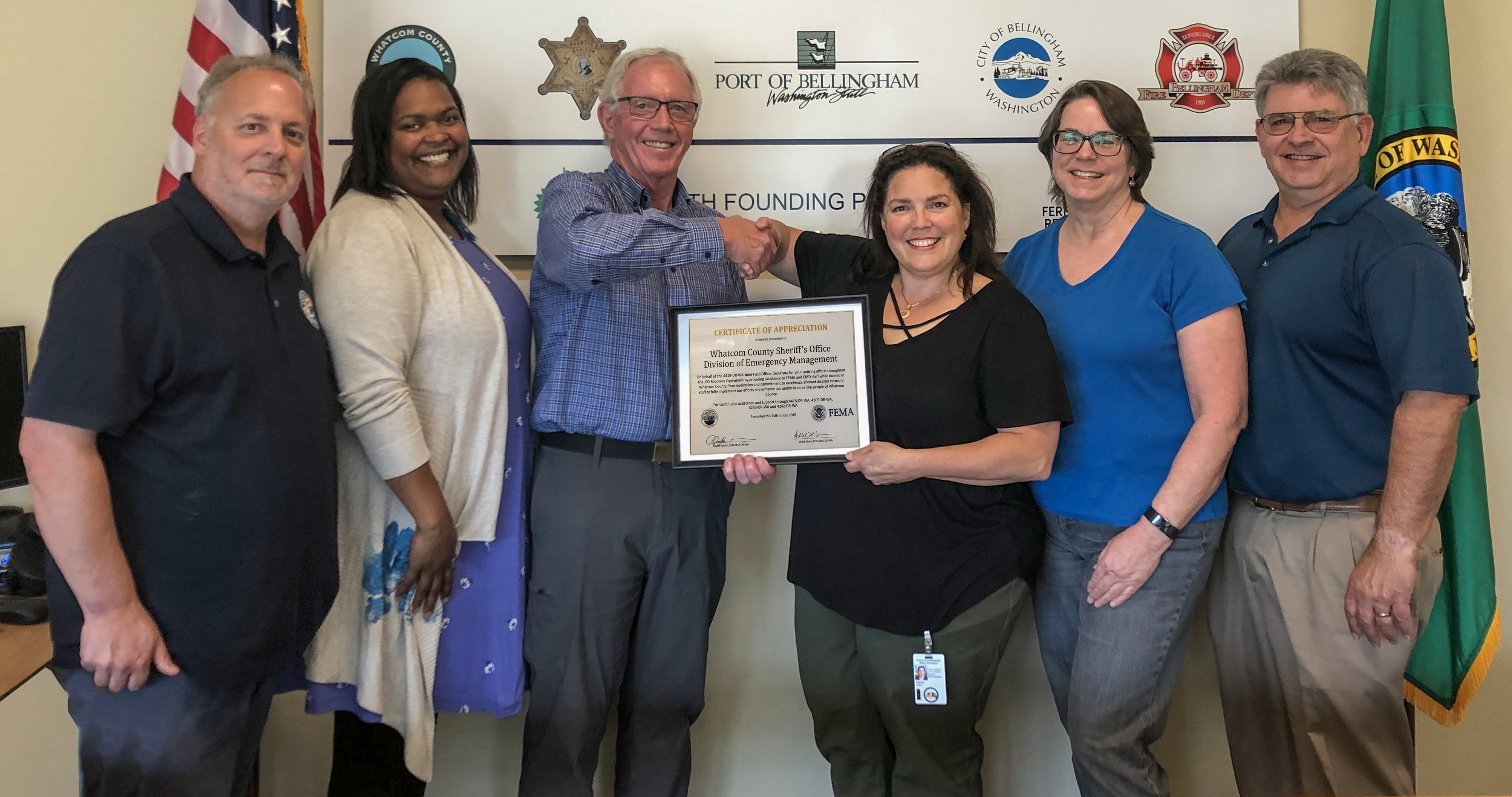 Certificate of Appreciation Presented to Whatcom County Sheriff's